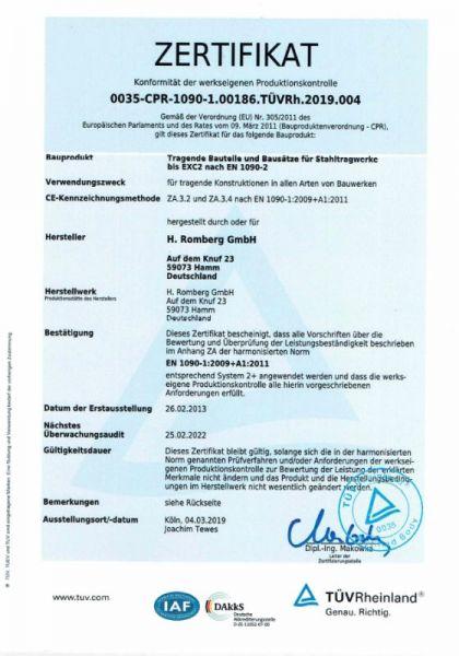 Zertifikate H Romberg Industrie Service